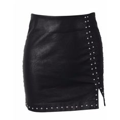 Studded Leather Slit Mini Skirt ($54) ❤ liked on Polyvore featuring skirts, mini skirts, short mini skirts, short slit skirt, short skirts and slit skirt