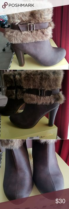 Brown Fur ankle booties Faux fur,size 10 worn once. No damages. Heel in great condition chase and chloe Shoes Ankle Boots & Booties