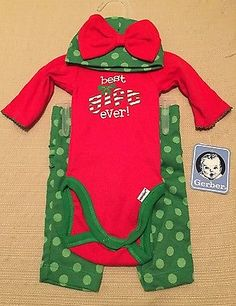 Christmas Holiday Gift Newborn Girls Infant Clothing 3 Piece Outfit NWT
