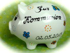 Geldgeschenke - Sparschwein XL  Nr. 95 Kommunion - ein Designerstück von MM-Bastelparadies bei DaWanda Piggy Bank, Etsy, Save My Money, Communion, Wrapping Gifts, Homemade, Creative, Crafting, Money Box