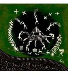 On The Farm Warli Painting