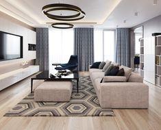 interior 7 on Behance Living Tv, Living Room Modern, Home Living Room, Interior Design Living Room, Modern Interior, Living Room Designs, Sofa Design, Furniture Design, Muebles Living