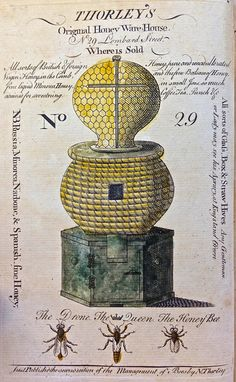 Thorley's Original Honey Warehouse, 1774. Hand-colored frontispiece advertisement for an 18th century London bee culture supplier!