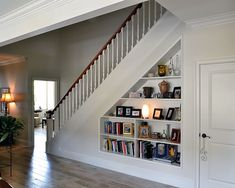 The Merrill plan #1209 www.dongardner.com - Great idea for using the space under the stairs! #Organize #Storage
