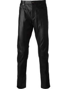 Saint Laurent - Black Leather Effect Trousers Leather Pants, Black Leather, Straight Leg Pants, Cool Style, Saint Laurent, Trousers, Boutiques, Designers, Men