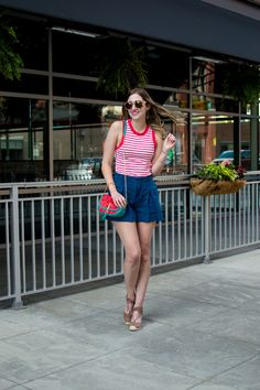 Nautical inspired style — stripes, high rise shorts and watermelon bag