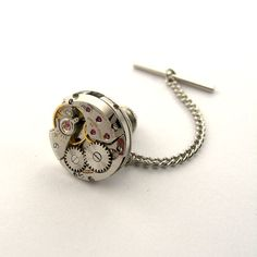 Round Watch Tie Tack / Lapel Pin  Steampunk Tie Tack by SteamSect, $34.82