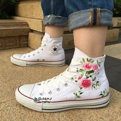 Womens Converse Floral Custom Flower Hand Painted Canvas Shoes Hand painted shoes are special because its uniqueness. They are not only wearable shoes but also [. Mens Canvas Shoes, Painted Canvas Shoes, Hand Painted Shoes, Painted Clothes, Canvas Sneakers, Galaxy Converse, Converse All Star, Diy Converse, Custom Converse