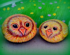 Easter Chicks Chicken Rock ArtHand Painted by AnimalArtDecor