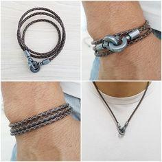 Pulseira Masculina Colar Masculino Couro Legitimo mens necklace bracelets fashion style cocar brasil