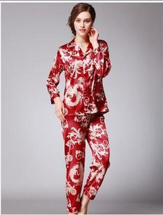 d36d13535a Autumn Spring Couple Pajamas Men Women Sexy Satin Silk Pajama Pants Sets  Blue Long-Sleeved