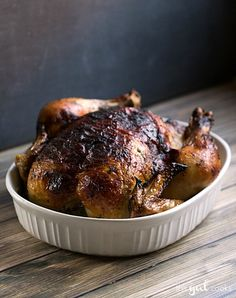 Oven Roasted Rotisserie Style Chicken - This Gal Cooks. Juicy, rotisserie style chicken at home is easy! #lowcarb #meat