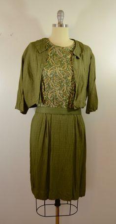 Vintage PAISLEY Sleeveless Dress with JACKET and belt Large size by ilovevintagestuff on Etsy