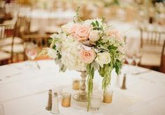 Lovely blush and white centerpiece by Stems of Dallas. Wedding by Grit + Gold. Photo by Lauren Peele Photography. #wedding #centerpiece #pink #blush