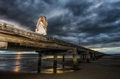 Nic and Daniel: Picture perfect shot over the Great Sandy Strait | Photo: Diesel Photographics |  #kingfisherbay #fraserisland #destinationwedding #fraserislandwedding #fraserwedding http://www.fraserislandweddings.com.au/ #AccorAustralia #Mercure