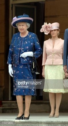 Queen Elizabeth ll and Sophie, Countess of Wessex attend a Royal garden party to celebrate the 50th anniversary of the Duke of Edinburgh's Award scheme on July 13, 2006.