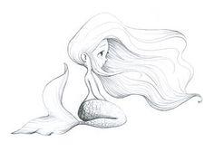 la fiancée au beurre salé young mermaid girl tattoo flash art ~A. Art Drawings Sketches, Cool Drawings, Pencil Drawings, Tattoo Sketches, Mermaid Drawings, Mermaid Art, Mermaid Sketch, Baby Mermaid Tattoo, Mermaid Tails