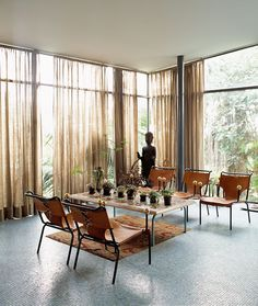 Casa de Vidro (Glass House) by Lina Bo Bardi - nice sheers Architectural Styles, Interior Architecture, Interior And Exterior, Floor To Ceiling Windows, Bay Windows, House Windows, Glass House, Interiores Design, Interior Inspiration