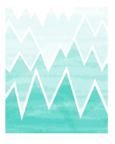 Aqua Ombre Geometric Wall Decor - Mountain Range Art Print - 8x10. $20.00, via Etsy.