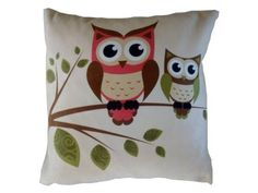 Owls Pillow. Cute addition to a girls woodland themed nursery!
