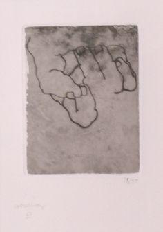 """Eduardo #Chillida """"Esku XXIII"""", 1979. Aguafuerte sobre chine collé sobre Cobre de 12x9,5 cm., Papel hecho a mano de 250 gr de medidas 60x45,5 cm. Ej.: 50 + AlgúnHC/PA (+-15) #art #etching #SanSebastian"""