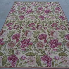 6'x9' Hand-stitched Cabbage Roses Wool Needlepoint Rug~New~Free Shipping
