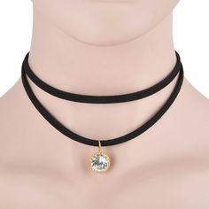 Vintage Gothic Black Velvet Ribbon Chain Choker Statement Bib Crystal Necklace   eBay