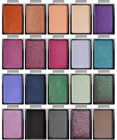 Buxom Eyeshadow Bar Singles & Palettes for Summer 2015 - Row 1: It Crowd, Glitz Factor, Famous Flirt, Mix & Mingle, Posh Purple; Row 2: VIP, Wild Nights, Party Girl, Lacy Chic, Schmooze; Row 3: Luxe Life, Backstage Pass, Pre-nup, Room Service, No Faux, Row 4: La-La-Lavish, LBD, Cool Caviar, Patent Leather, Jetsetter
