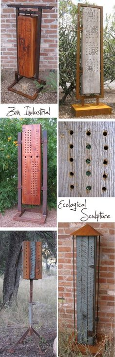zen-industrial  Alternatively these creations by Greg Corman of Zen Industrial in Tucson, Arizona are created from salvaged materials.  Greg uses his scuplture to provide habitats for native, stingless bees (not honeybees).