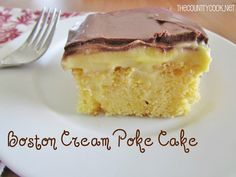 Boston Cream Poke Cake: prepare yellow cake poke holes, mix 2 boxes instant french vanilla pudding with 4 cups milk, spread on cake, let cake cool completely in fridge top with choc frosting