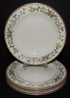 (4) Wellesley by Farberware #486 8  Salad Plates Katherine Babanovsky 96 & 2 WHITE Multi/Color FARBERWARE CHINA 486 WELLESLEY PATTERN 5 PIECE ...