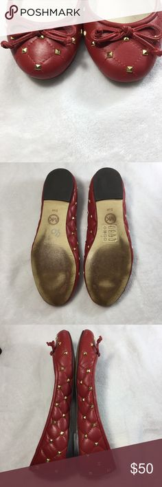 {Michael Kors} Red Flats with bow & gold studs. {Michael Kors} Red Leather Flats with bow & gold studs. Excellent used condition. Size 5.5 Michael Kors Shoes Flats & Loafers
