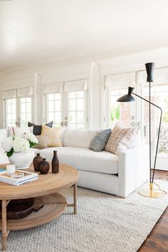 coastal living rooms A coastal, traditional living room with function and flow in mind! Coastal Living Rooms, Rugs In Living Room, Living Room Designs, Living Room Furniture, Living Room With Sectional, White Couch Living Room, Neutral Living Rooms, Fresh Living Room, Living Room Decor Target