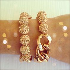 Champagne Swarovski Pave & Rose Gold  Bracelet   Arm by elinspired, $22.95
