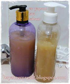 HAYATCEMRESİ: EV YAPIMI ZEYTİNYAĞLI SIVI SABUN Home Made Soap, Organic Skin Care, Soap Making, Personal Care, Good Things, Homemade, Bottle, How To Make, Beauty