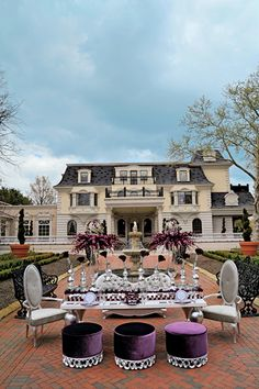 Tabletops - Page - Wedding Style Magazine Outdoor Dining, Outdoor Spaces, Ashford Estate, Rental Decorating, Wedding Chairs, My Dream Home, Wedding Styles, Luxury Homes, Beautiful Homes