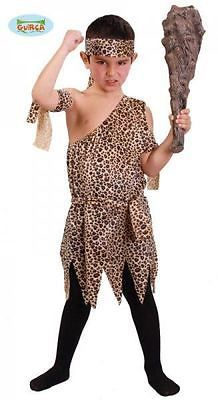Boys Caveman Neanderthal Prehistoric Stone Age Fancy Dress Costume Childs Outfit