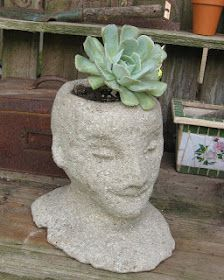 These homemade Cement Head Planters will look fantastic around your garden. They're easy and inexpensive to make using a Styrofoam wig form...