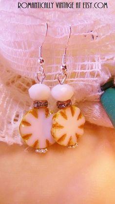 White Star Beaded Earrings Summer Beach by RomanticallyVintage, $19.50
