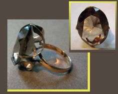 Sparkling GOLD14k Gold/Smoky Topaz Cocktail RingFaceted by VdeB, $350.00