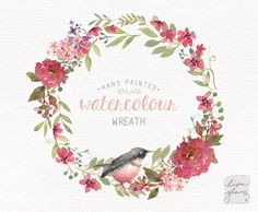 This sweet little bird and reddish pink floral watercolor wreath is hand painted with love. It looks beautiful on wedding stationery, but of