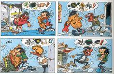 9emeart:  Gaston arrive au bureau Franquin