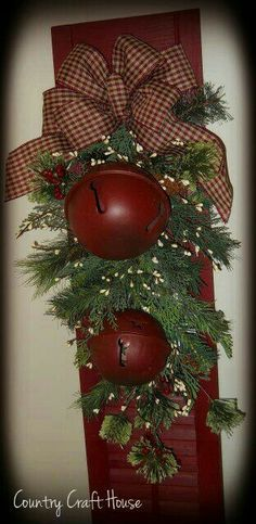 I have the shutter.would use rusty bells instead of red ones.maybe add a Merry Christmas sign or burlap ribbon? by Rachael Shannon Shaw Merry Christmas Sign, Primitive Christmas, Country Christmas, Outdoor Christmas, All Things Christmas, Winter Christmas, Christmas Holidays, Christmas Wreaths, Christmas Ornaments
