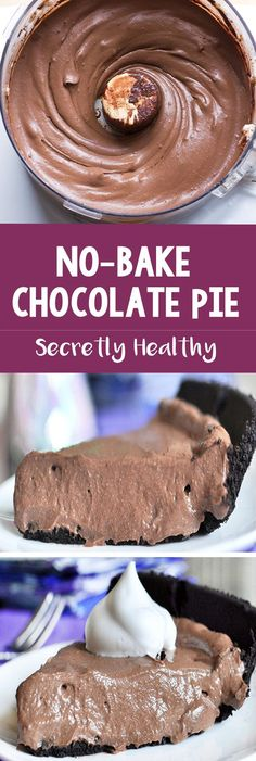 With fewer than 150 calories per slice, this creamy chocolate pie is a chocolate lover's dream come true! @Chocolate Covered Katie