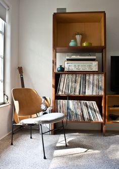 Danish modern chair designed by Ib Kofod-Larsen + vinyl collection.