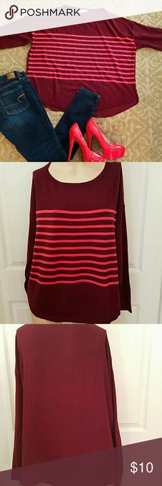 LOFT Burgundy and coral striped sweater Burgundy and coral striped sweater...sheer back LOFT Tops