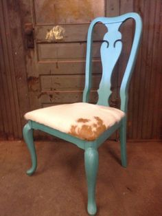 High back chair, lightly distressed in American Paint Company Beach Glass with cowhide seat!