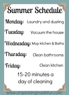 Summer cleaning schedule so the house doesn't get any further away from me! Summer cleaning schedule so the house doesn't get any further away from me! Weekly Cleaning, Cleaning Checklist, Cleaning Hacks, Cleaning Schedules, Speed Cleaning, Cleaning Recipes, Cleaning Supplies, Diy Cleaning Products, Cleaning Solutions