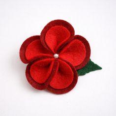 Red Felt Flower Hair Clip