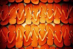 OMG - a whole bunch of orange flip-flops! I would never need flip-flops again!